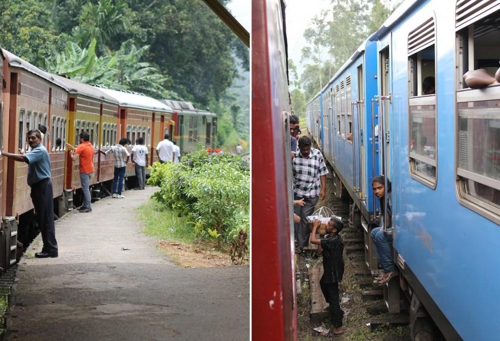 Menschen am Zug in Sri Lanka