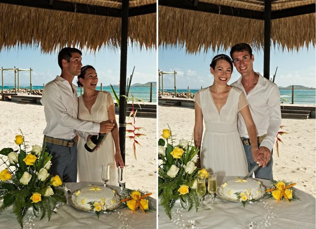 Hochzeitstorte anschneiden am Strand