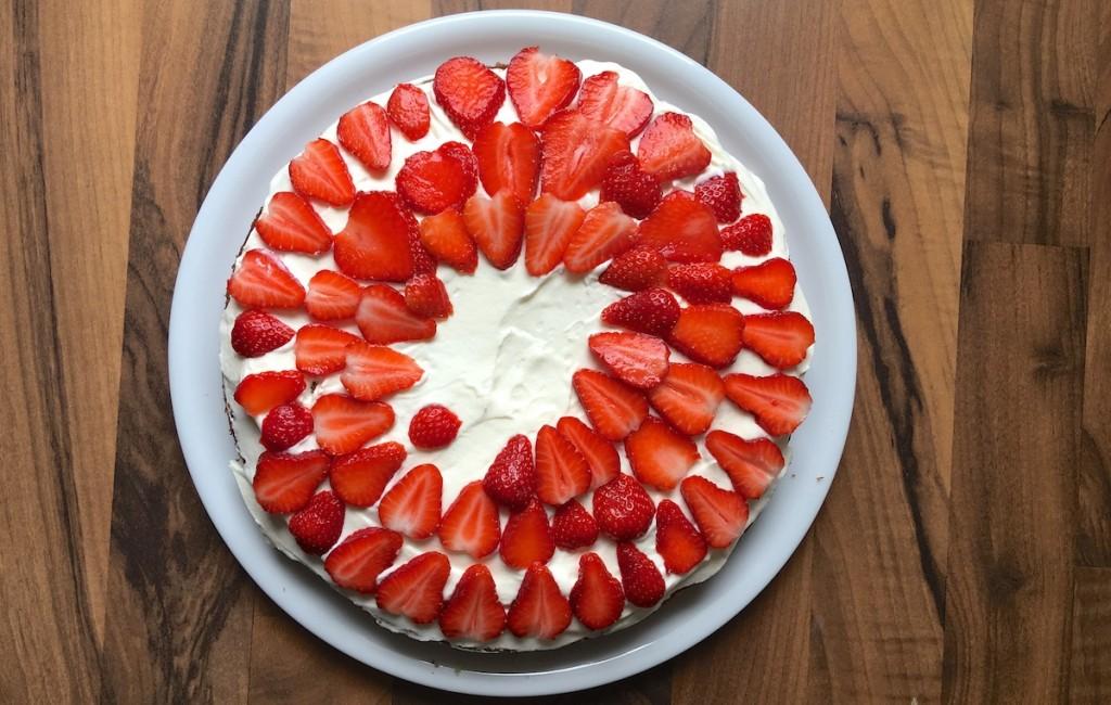 Erdbeeren auf Kuchen