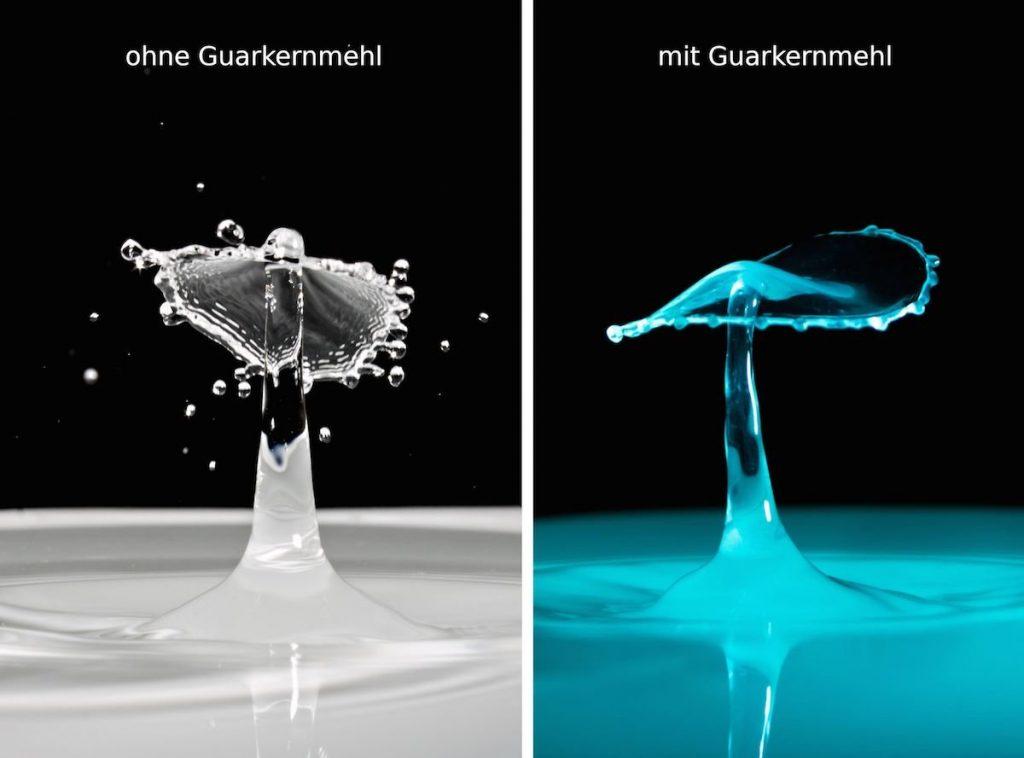 Tropfenfotografie mit Guarkernmehl