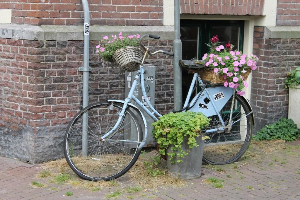 Fahrrad in Holland das als Blumentopf dient