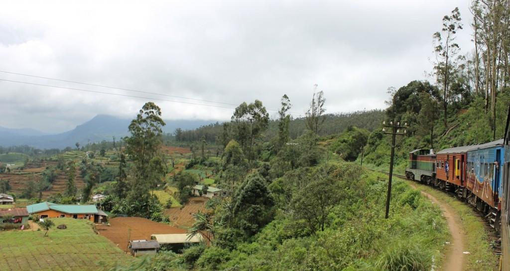 Zug in Landschaft in Sri Lanka