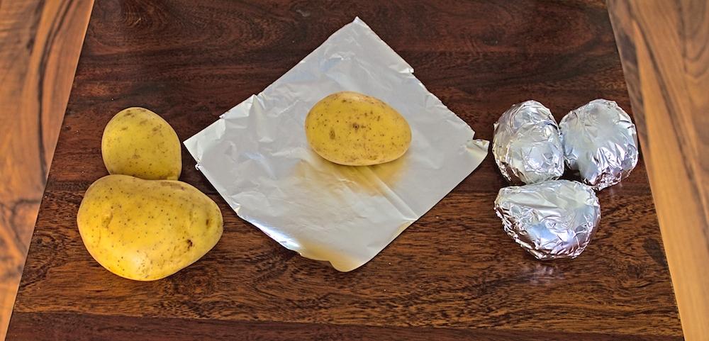 Zubereitung der Ofenkartoffeln
