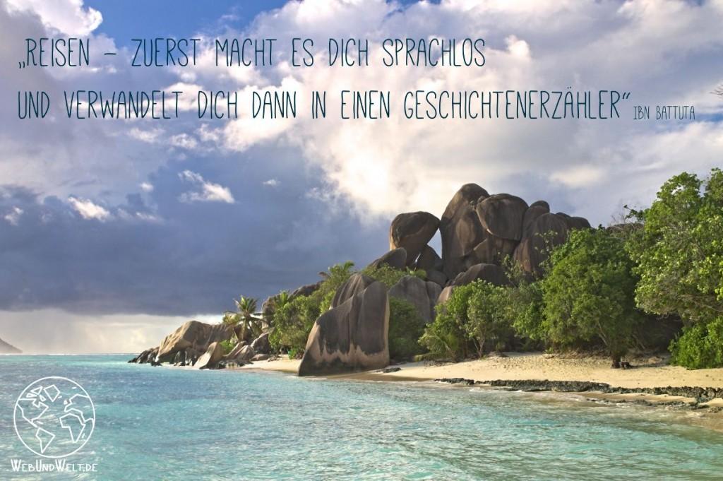 Reisezitate mit Strand der Seychellen