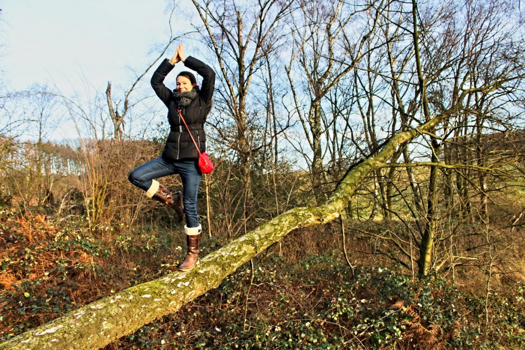 Yoga auf Baumstamm